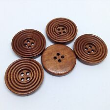 10 x 25mm Wood Sewing Buttons 4 holes carved