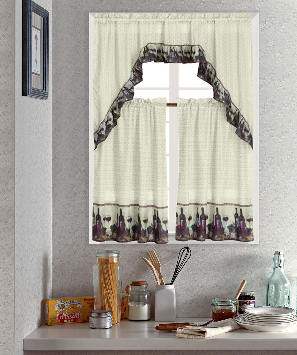 WINE PRINTED KITCHEN CURTAIN SET, COMPLETE TIER & SWAG SET