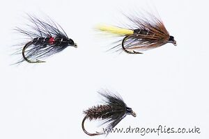 18-Wet-Fly-Fishing-Flies-Bibio-Kate-McLaren-Black-amp-Peacock-Spider-Dragonflies