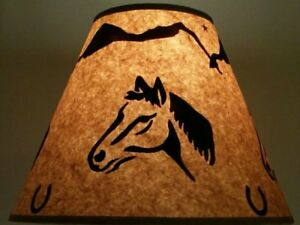 Image Is Loading HORSE LAMP SHADE RUSTIC PARCHMENT PAPER 12 034