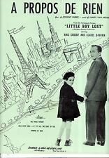 """LITTLE BOY LOST Sheet Music """"A Propos De Rien"""" Bing Crosby"""