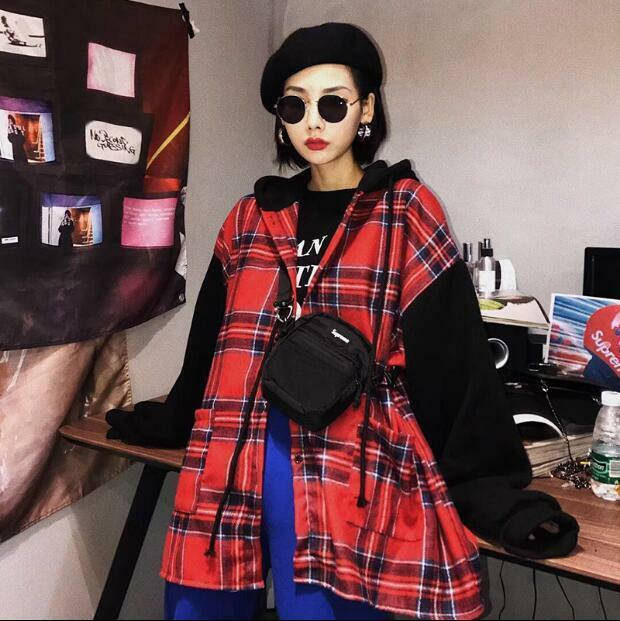New Fashion Womens Korea Style Plaid Oversize Coats Casual Hip Pop Casual Coat