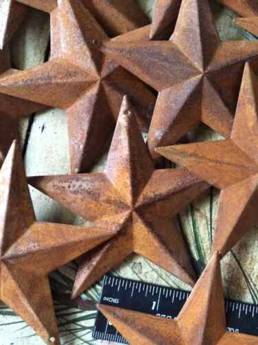 """10 Rusty Barn Stars 3.5 in 3 1//2/"""" Dimensional 2D w// hole Craft Supply Country"""