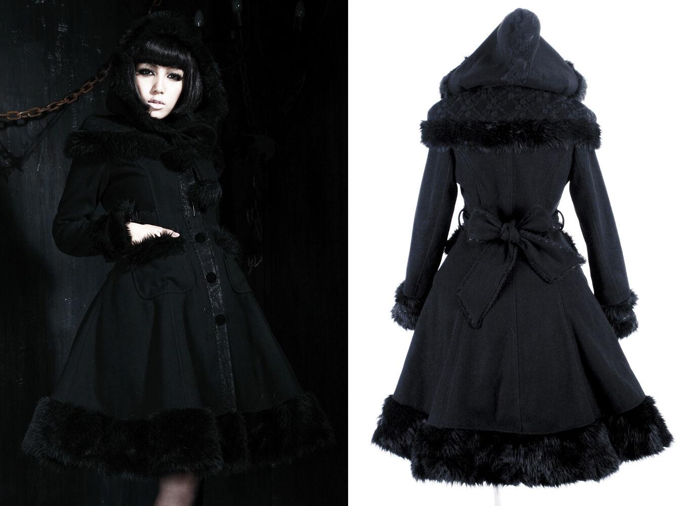 Manteau gothique lolita capuche princesse hiver fourrure dentelle Alice PunkRave