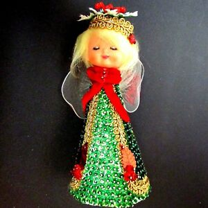 Vintage-Christmas-Jeweled-Sequin-Bead-Ornament-ANGEL-Gold-Green-Red-White-1960