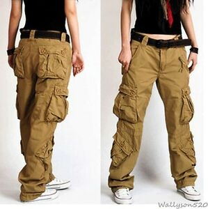 e530b2a72b44 Image is loading Lady-Womens-Military-loose-colors-Cargo-Pocket-Pants-