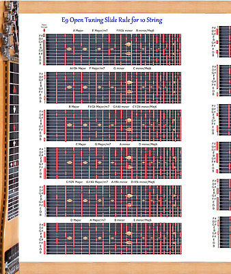 e9th tuning slide rule poster for 10 string steel guitar lap pedal chart ebay. Black Bedroom Furniture Sets. Home Design Ideas