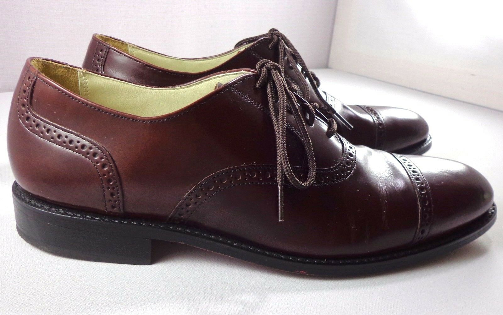 Para Hombre de Cuero Marrón Borgoña Bostonian Oxfords Cap Toe Zapatos D