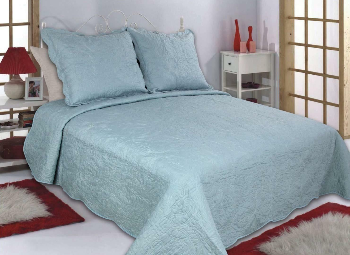 ALL FOR YOU Reversible Bedspread, Coverlet,Quilt 13 Blau Aqua Solid Farbe