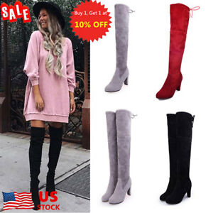 US-Womens-Suede-Over-The-Knee-Boots-Block-High-Heels-Lace-Up-Thigh-Stretch-Shoes