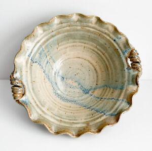 LARGE-Studio-Art-Pottery-SIGNED-Glazed-Centerpiece-Bowl-Ruffle-Wheel-Thrown