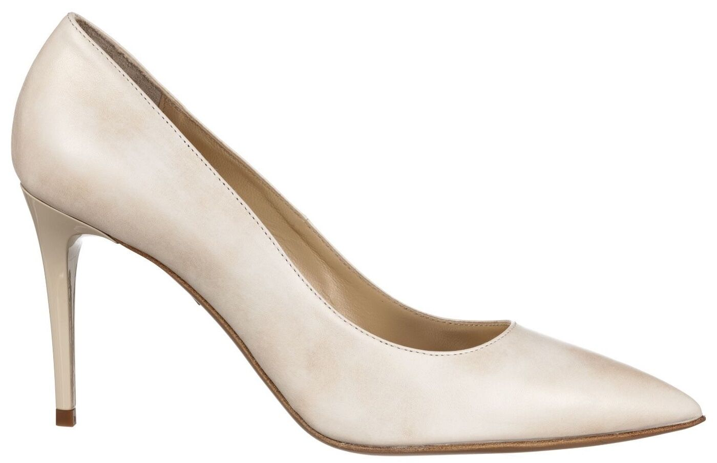 MORI MADE IN ITALY POINTY HIGH HEEL PUMPS DECOLTE SCHUHE LEATHER WHITE BIANCO 45
