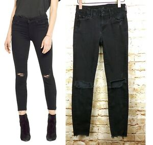 Mother-Jeans-Looker-Ankle-Fray-Skinny-Guilty-As-Sin-Black-Raw-Hem-Ripped-Knee-24