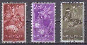 GUINEA-1958-MNH-NUEVO-SIN-FIJASELLOS-SPAIN-EDIFIL-388-90-MARIPOSAS