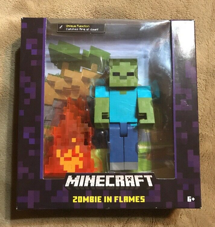 Minecraft Series 2 Zombie with Pop Out Flames Flames Flames Action Figure 1011e6