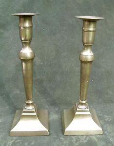 Antique-Early-19thC-Pr-Classical-Brass-Column-Candlesticks-9-034