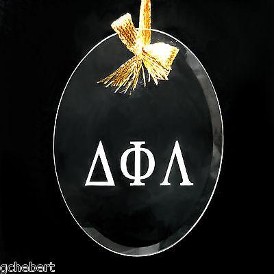 Delta Phi Lambda, ΔΦΛ,  Ornament/Sun Catcher Beveled Oval Crystal Crest