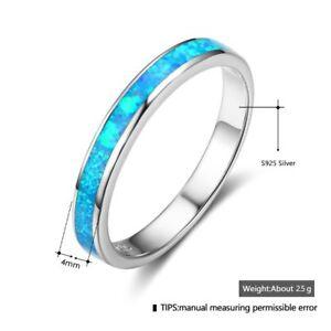 Image Is Loading Women Sterling Silver Blue Opal Rings Simple Wedding