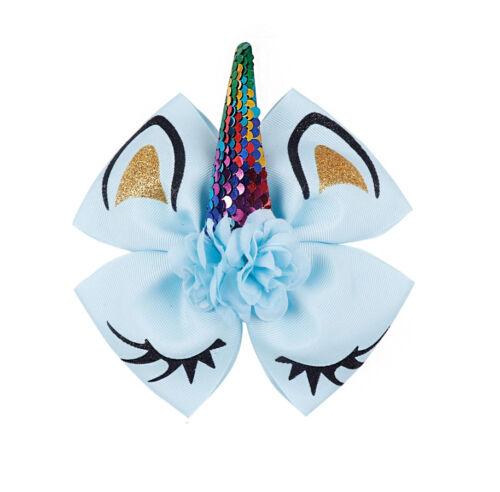 """Filles Enfants Unicorn Horn Sequin Hair Bow-Extra Large 6/"""" Vendeur Britannique-Double Bow"""