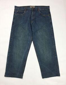 Sky-jeans-uomo-usato-W44-tg-58-gamba-dritta-denim-blu-boyfriend-straight-T3654