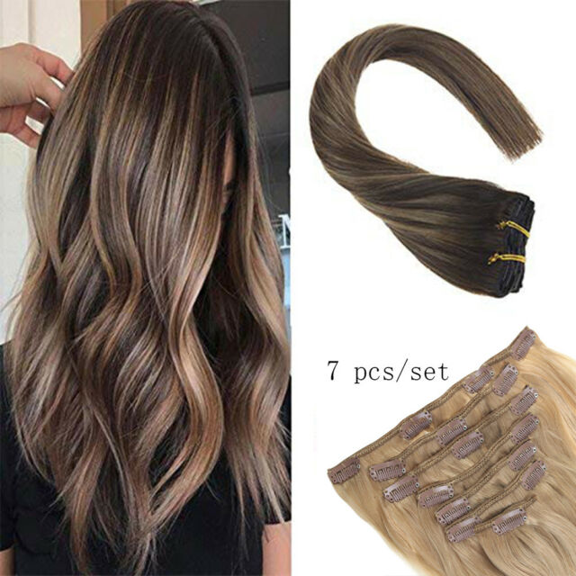 Sunny Clip In Human Hair Extensions Balayage Dark Brown To Caramel