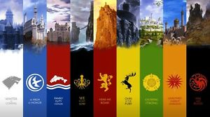 game of thrones seven kingdoms map fabric art cloth poster 24x13