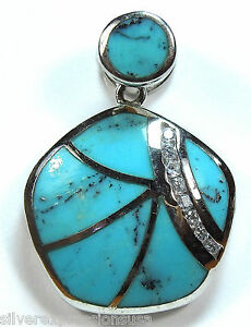 Genuine-Natural-Blue-Turquoise-Inlay-amp-White-Topaz-925-Sterling-Silver-Pendant