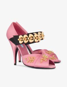 75bdd1b7e20 New Prada Chain Embellished Satin Mary Jane Peep Toe Pumps Size 37 ...