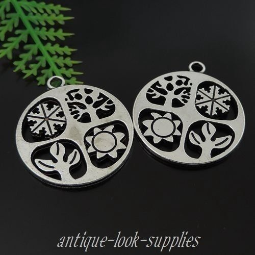 20PCS Antiqued Silver Alloy  Round Snow Tree Sun Pendants Charms 28*24*2mm 39425