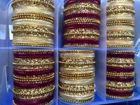 The Indian Bridal Collection,party Bangles,sangeet Mehandi Wedding, Maroon Golds