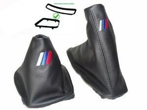 Schaltsack-Handbremsmanchette-Fur-BMW-E46-99-05-Leder-M3-Logo-Stickerei-Rahmen