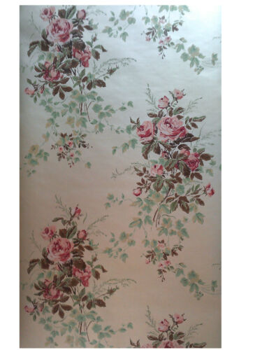 $4 SAMPLE Thomas Strahan Historic Reproduction Wallpaper Chantilly Rose #2