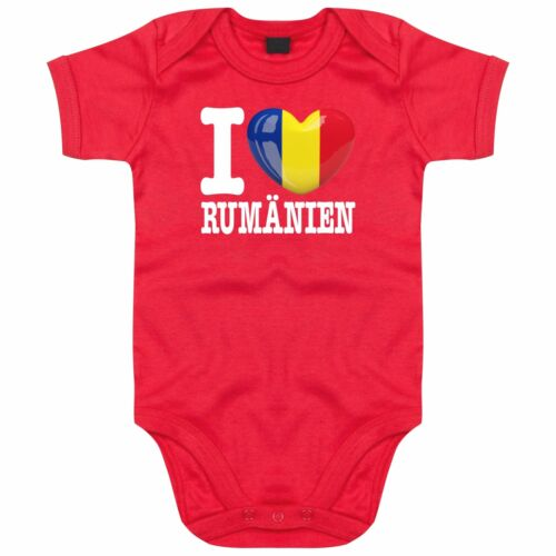 I LOVE RUMÄNIEN FanShirts4u Länder Baby Body EM WM Herz Heart Liebe