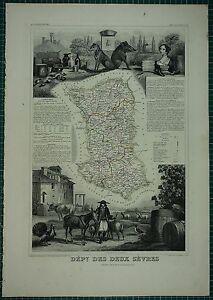 1856 MAP FRANCE DEPARTMENT ~ DES DEUX SEVRES NIORT BRESSUIRE MELLE PARTHENAY