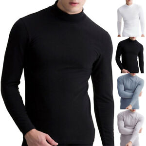 d105f2bb267951 Men's Warm T-shirt Long Sleeve Turtleneck Jumper Undershirt High ...