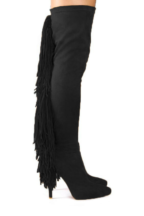 NEW In Box 7.5 Jeffrey Campbell Sampson Black Suede Fringe Over The Knee Boot