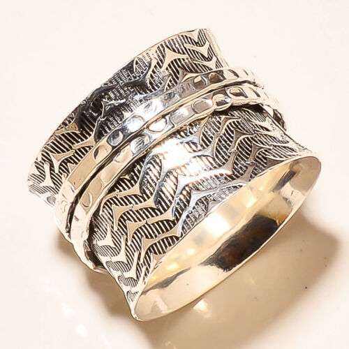 925 Sterling Silver Wide Band Meditation Ring Statement Ring Spinner Ring rr1271