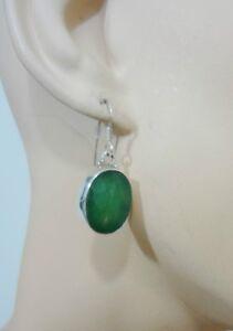 Chalcedony-Apple-Green-Sterling-Silver-Faceted-Oval-Pierced-Dangle-Earrings