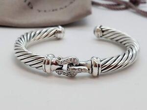Details About David Yurman Sterling Silver 7mm Diamond Buckle Bracelet