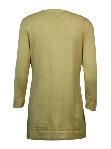 JM Collection Women/'s Buttoned-Trim Metallic Boat Neck Sweater