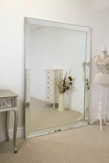 Frameless Large Venetian Madena Leaner Modern Wall Mirror 202cm X 141cm For Sale Online Ebay