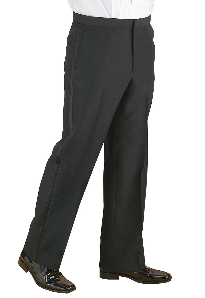 SLIM FIT Comfort waist Flat front Men's Formal Tuxedo Pants. Wedding Prom Cruise