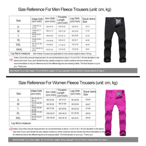Unisex Winter Thickened Softshell Thermal Fleece Skiing Climbing Pants Trousers