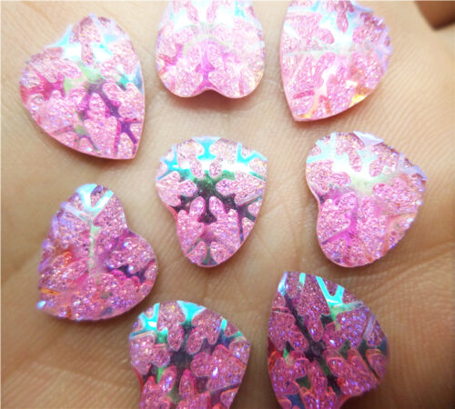 NEW DIY 100pcs Resin Pink Heart Flatback Scrapbooking Phone Case Hair Bow Charm