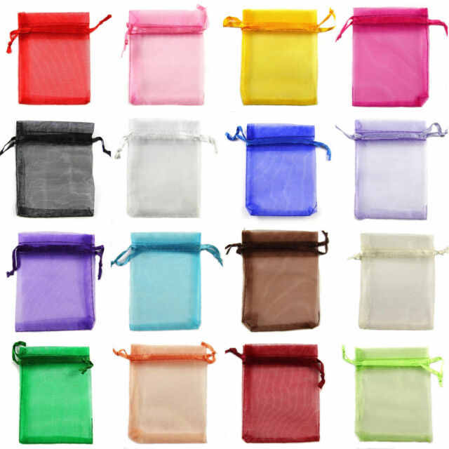 100Pcs Organza Jewellery Packing Pouches Wedding Party Favour Candy Gift Bags