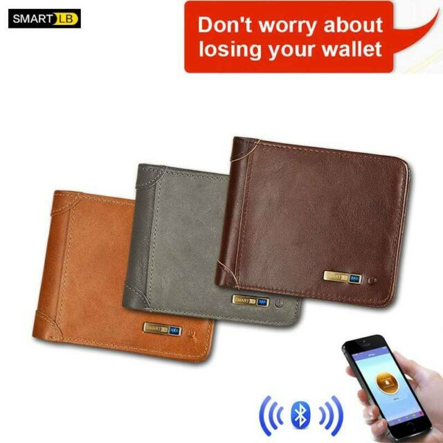 Smart Wallet Anti-Lost Bluetooth Genuine Leather for Men Cards Holder Alarm GPS