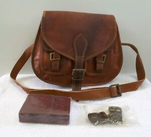 a9b004da45d2 Image is loading Firu-Handmade-Women-Vintage-Genuine-Brown-Leather-Cross-