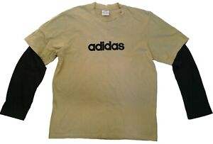 Adidas-T-Shirt-Men-039-s-Black-amp-Beige-Tee-Size-L-Long-Sleeves-Crew-Neck-100-Cotton