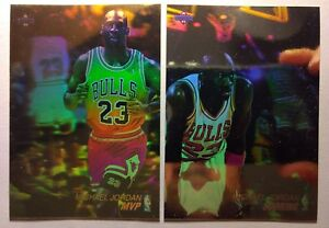 Lot-of-2-1991-92-Upper-Deck-Michael-Jordan-Hologram-AW1-amp-AW4-Insert-Bulls