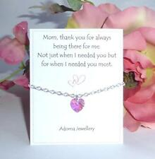 Mothers Day Gift Swarovski Pink Heart Crystal element Silver Bracelet ~Thank you